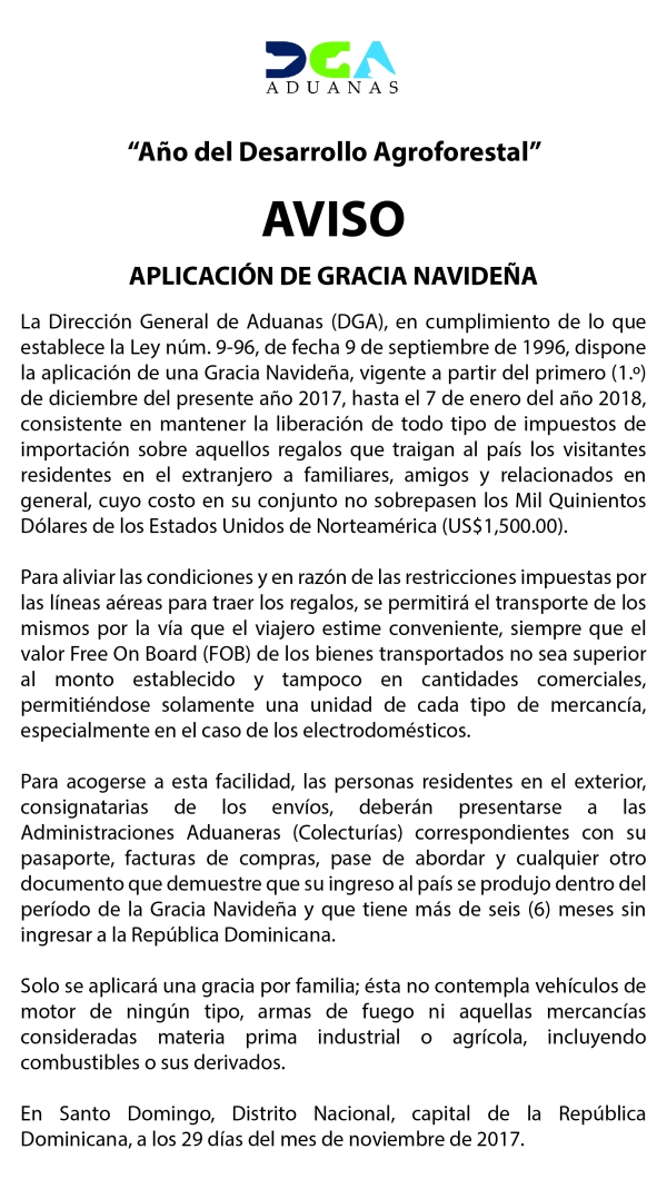 Aviso Gracia Navideña, El Listín.jpg